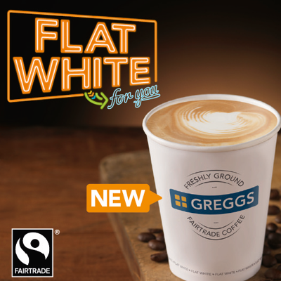 Flay white coffee from Greggs bakery